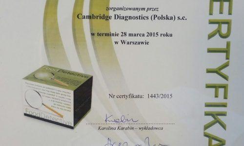 Certyfikat Immunodiagnostyka Nietolerancji Pokarmowej